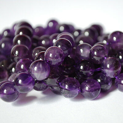 "Semi Precious Gemstone Amethyst Round Beads 16"" Strand 4mm, 6mm, 8mm, 10mm, 12mm"