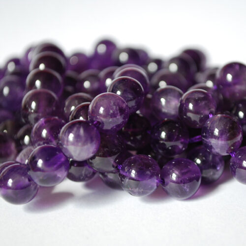 Grade A purple Natural Amethyst Gemstone Round Beads  4mm 6mm 8mm 10mm 12mm