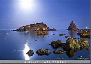 CARTOLINA-SICILIA-POSTCARD-SICILY-ACITREZZA-FARAGLIONI