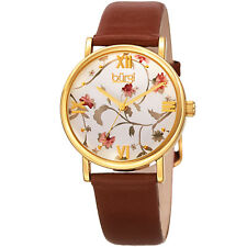 22e45e50410 Women s Burgi Bur186br Floral Print Rose Gold Tone Brown Leather Strap Watch
