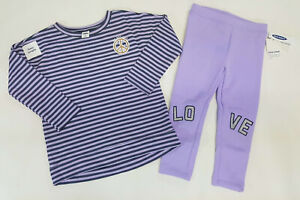 NWT-Old-Navy-Girls-12-18-24-Months-2t-3t-or-4t-Purple-Peace-Top-amp-Love-Leggings
