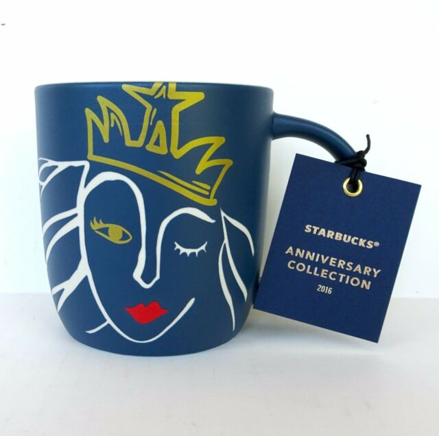 Starbucks 2016 Anniversary Mug BNWT 14 0Z Blue White Mermaid Gold Crown Red Lips