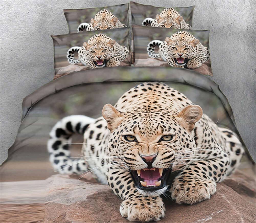Tiger Pouncing On 3D Printing Duvet Quilt Doona Covers Pillow Case Bedding Sets