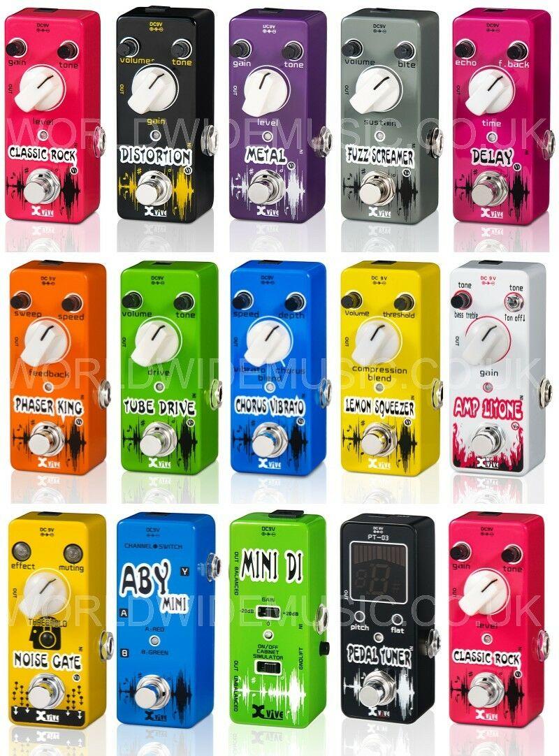Gama de micro pedales XVIVE XVIVE XVIVE (distorsión, retraso, Phaser, Chorus, puerta de ruido, etc.)  Precio al por mayor y calidad confiable.