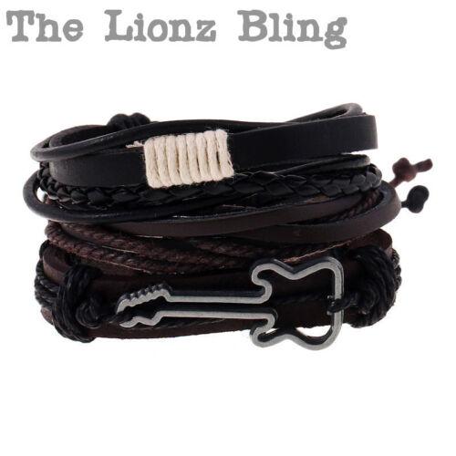 Vintage style Rock Guitar w// Black /& Brown Leather Slip-Knot Stacked Bracelets