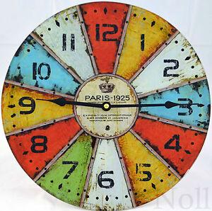 Uhr Modern uhr wanduhr modern landhaus küche bunt glas groß xl 30 cm ebay