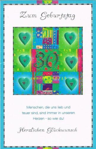 zum 30 Geburtstag Geburtstagskarte mit Kuvert Glückwunschkarte NEU #23#