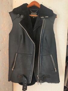 Us8 Vest Eu40 Muubaa Black Motor Shearling M Biker 6ySfAyq