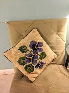 Vintage-Needlepoint-Croche-Throw-Pillow-Purple-Flower-corduroy-green-15-x-15
