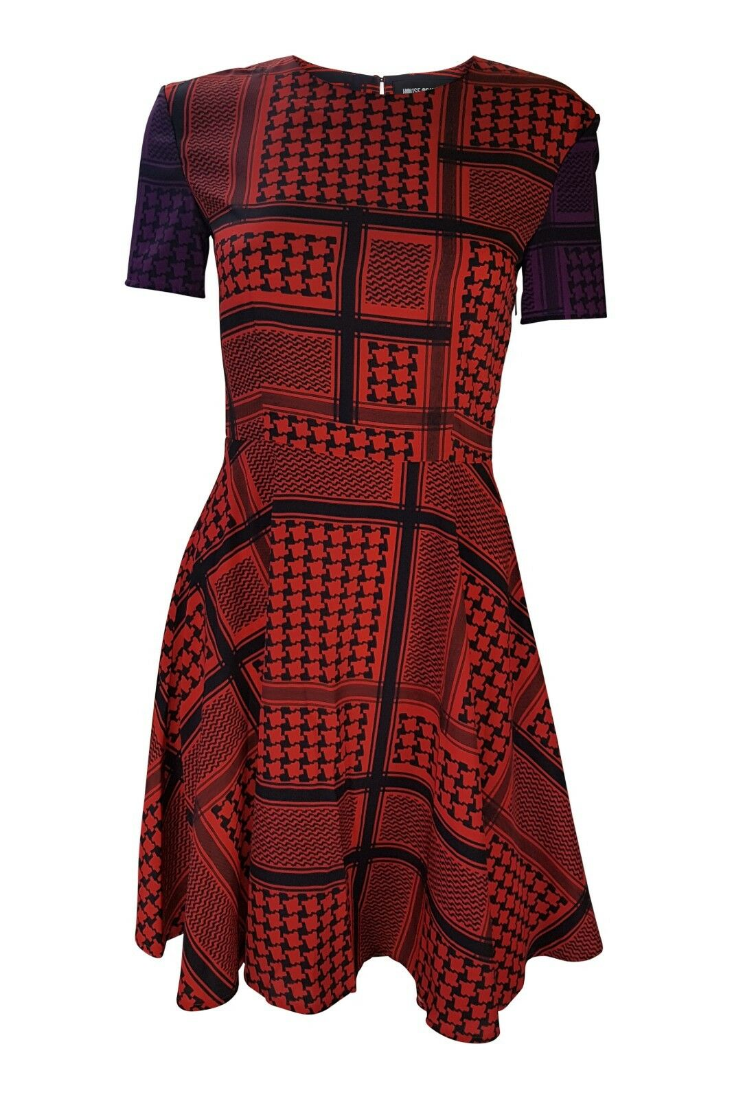 OLANDA HOUSE OF Rosso Geometrica Stampa Skater Dress (8) ae3708