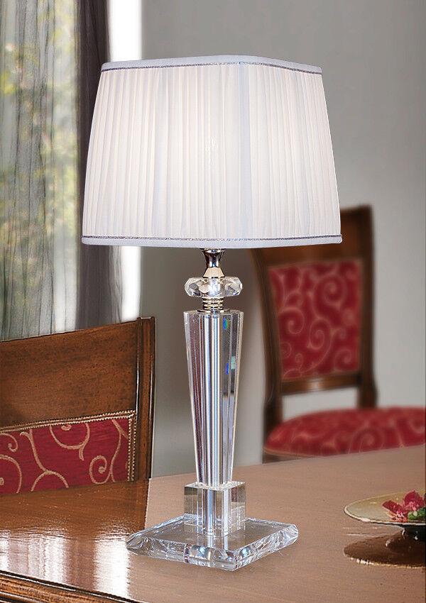 Lampada da tavolo in cristallo lume con paralume in seta plissé lume moderna NEW