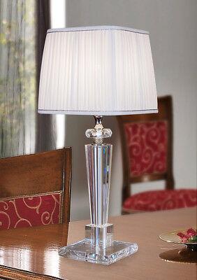 lampada da tavolo da comodino lume in cristallo lume con paralume moderna nuova