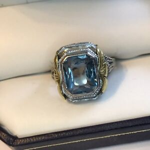 acd0e73b4917f Details about VINTAGE 14K WHITE AND YELLOW GOLD AQUAMARINE RING STUNNING