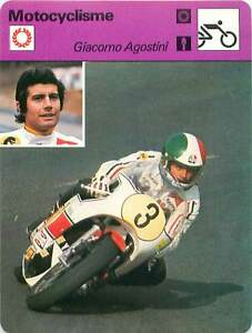 """FICHE CARD: Giacomo Agostini Italy Pilote de vitesse moto MOTORCYCLING 1970s - France - EBay Jeux Olympique Olympic GamesPORT EUROPE GRATUIT A PARTIR DE 4 OBJETSBUY 4 ITEMS AND EUROPE SHIPPING IS FREE FICHE FRANCE ANNEES 70s MOTOCYCLISME motorcycle road racer ETAT VOIR PHOTO FORMAT 16 CM X 12 CM SIZE : 6.29 """" X 4.72 """" inch FICHE SPO - France"""