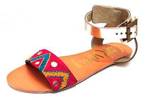 Fille Coolway À Hippie Femme Doré 38 Boucles Sandales Neuf Broderie Cuir Plates w4qg6U6v