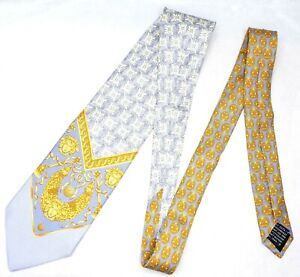 GIANNI VERSACE tie purple yellow gold sword arms medusa head baroque silk