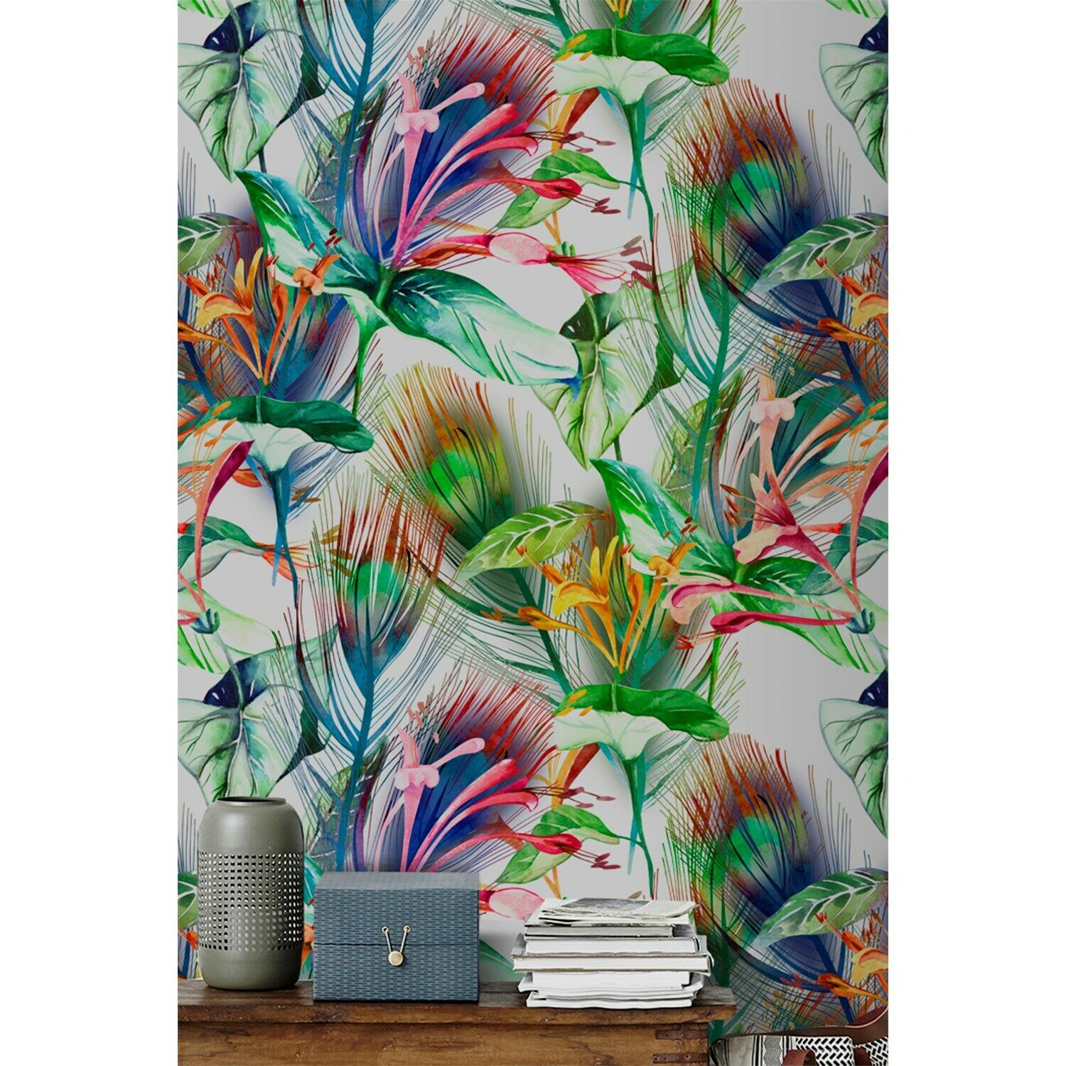Botanical full of Farbe Farbeful Non-Woven wallpaper Traditional waterFarbe