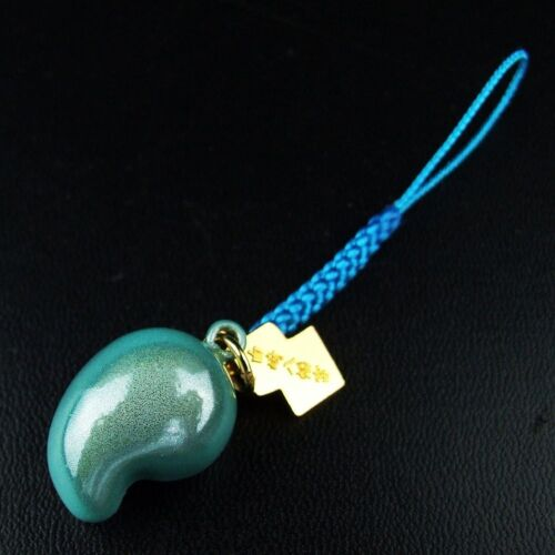 JAPANESE Magatama Amulet OMAMORI Charm Good fortune Blue Power Stone Bell