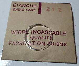 Verre-de-montre-suisse-bombe-plexi-diametre-212-Watch-crystal-vintage-NOS