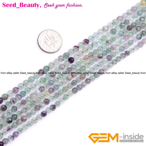 """Natural Round Fluorite Gemstone Loose Beads Strand 15/"""" Smooth Rainbow Color"""