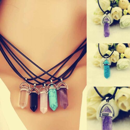 Fashion Natural Stone Chain Choker Statement Charm Necklace Pendant Jewelry