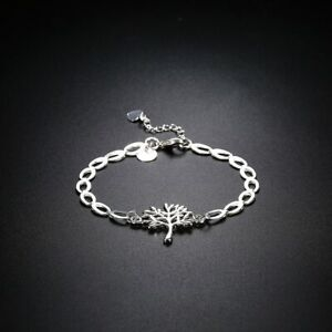 New-Women-039-s-925-Sterling-Silver-Filled-Tree-of-Life-Charm-Bracelet-Chain-Gift