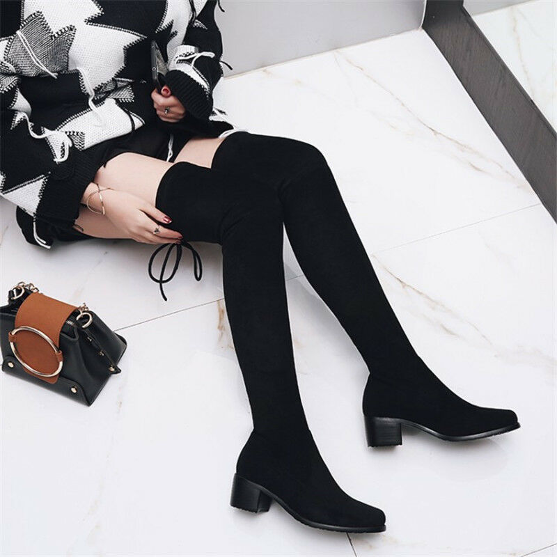 Women Block Med Heels Solid Tight Round Toe Knee High Boots Chunky shoes Fashion