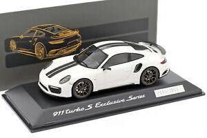 Porsche-911-991-Turbo-S-Exclusive-Series-weis-schwarz-1-43-Spark