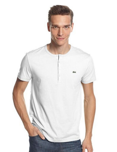 New Lacoste Men/'s Pima Cotton Short Sleeve Henley Top T-Shirt Tee Black White