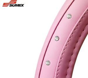 Sumex-coche-cubierta-para-volante-Diamante-Rosa-Piel-Suave-Funda-BRILLO