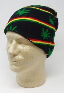 07ba60684 Details about Marijuana Weed Pot 4:20 Leaf Green Rasta Black Design Beanie  Cap Skully Hat