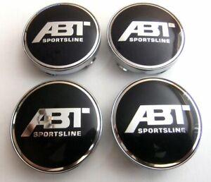 4x-60mm-ABT-Racing-noir-argent-jantes-couvercle-moyeux-capuchon-roue-enjoliveur