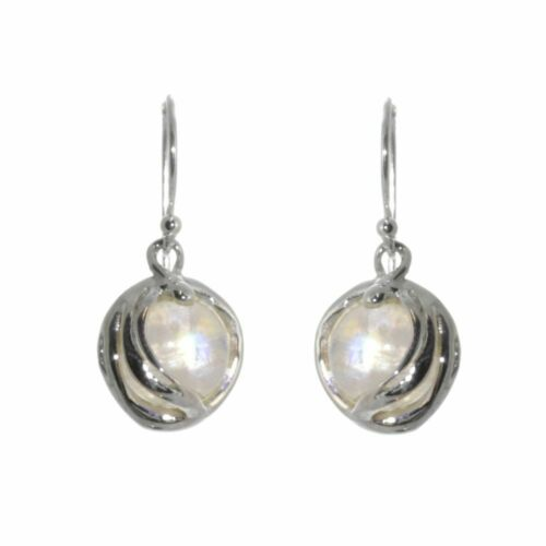 Fabulous Sterling Silver Jewellery Round Iridescent Moonstone Drop Earrings ...