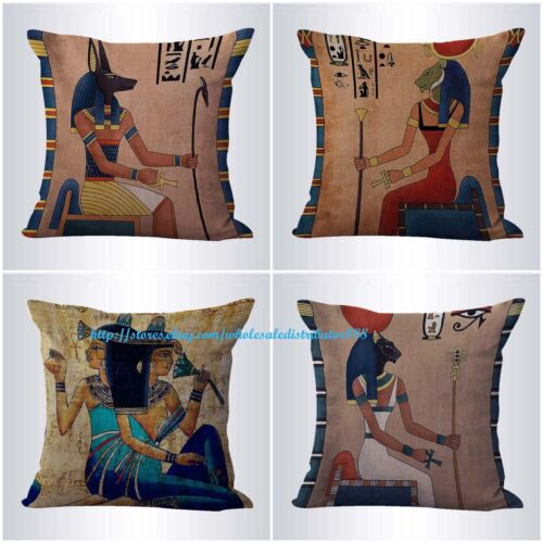 US SELLER-4pcs cushion covers Ancient Egyptian decor pillow covers