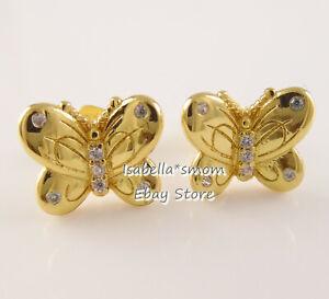 Dettagli su Decorativo Farfalle Pandora Splendere Placcato Oro Giallo  Orecchino 267921CZ
