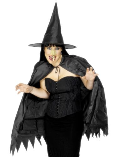 Halloween Instant Witch Kit With Hat Cape /& Nose