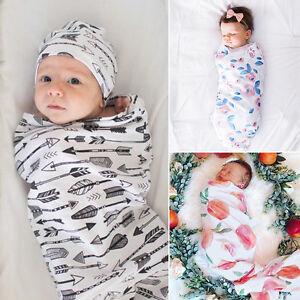Newborn Baby Boy Girl Infant Swaddle Wrap Swaddling Blanket Sleeping Bag Muslin