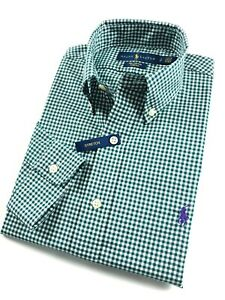 Ralph-Lauren-Shirt-Men-039-s-Ever-Green-Gingham-Check-Standard-Fit-Cotton-Stretch