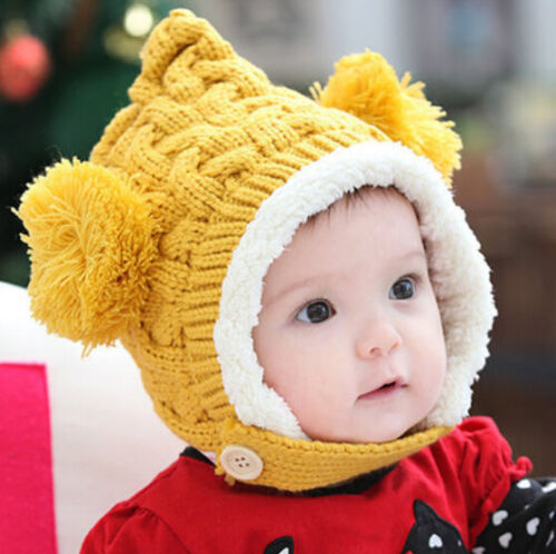 Lovely Winter Warm Kid Baby Girl Boy Dual Balls Ear Wool Knit Beanie Cap Hat