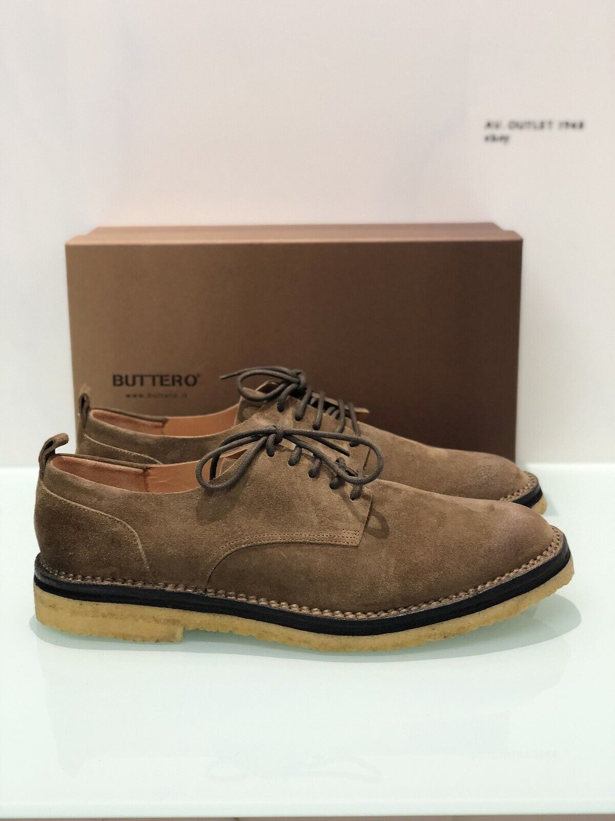 Stringata Buttero In Suede Tabacco B7140 Para Miele men Gorh