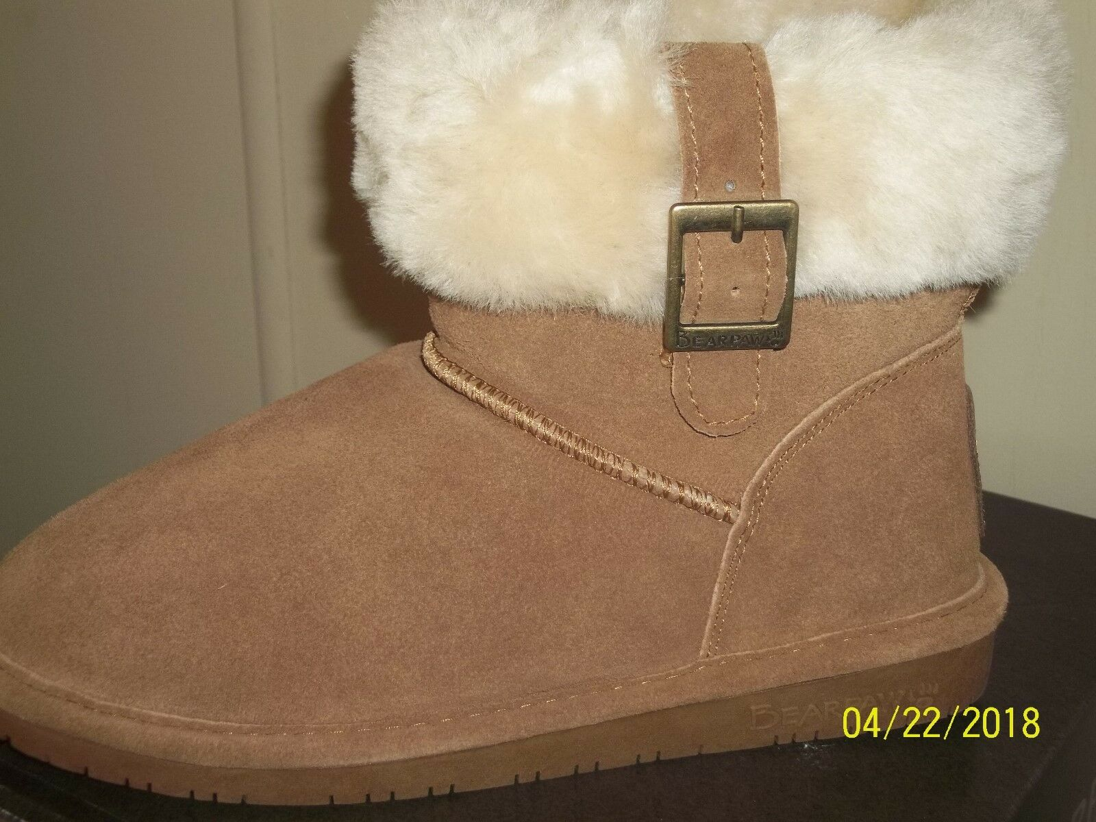 Bearpaw Womens Boots Slippers Brown Sheepskin Lined Size US 7 7 7 EU 38 e21a3e