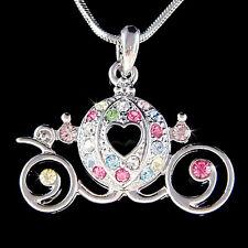 w Swarovski Crystal Rainbow ~Cinderella Wedding Pumpkin Carriage~ Charm Necklace