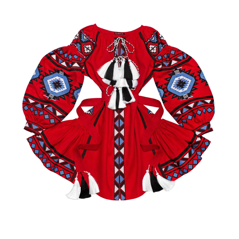 Vestido corto rojo bordado ucraniano Boho-Folk étnico Vyshyvanka. todos Los  Tamaños  tienda