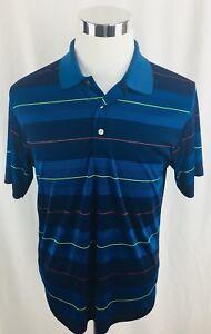 Ben-Hogan-Performance-Blue-Striped-Polo-Golf-Shirt-Mens-Medium-M