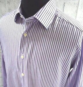 de26d8b44 David Donahue Trim Fit Mens Button Up Striped Shirt Purple Size 17 ...
