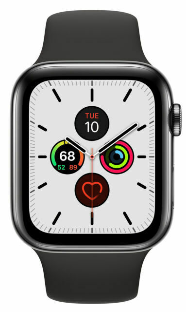 Apple Watch Series 5 44mm Space Black Stainless Steel Case With Black Sport Band S M M L Gps Cellular Mww72ll A For Sale Online Ebay