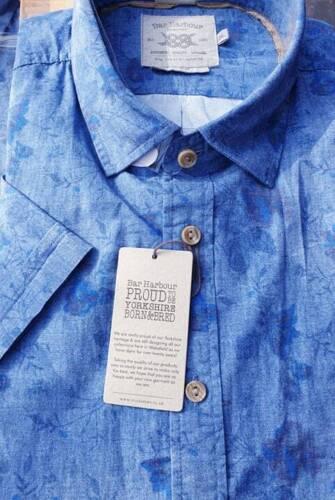 Bar Harbour Lavé Bleu fleuri à manches courtes chemise 2XL3XL4XL5XL