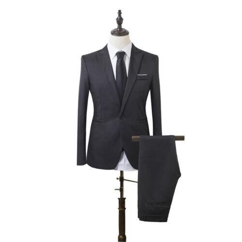Fashion Men Casual Slim Formal One Button Suit Blazer Coat Jacket Tops Pants Set