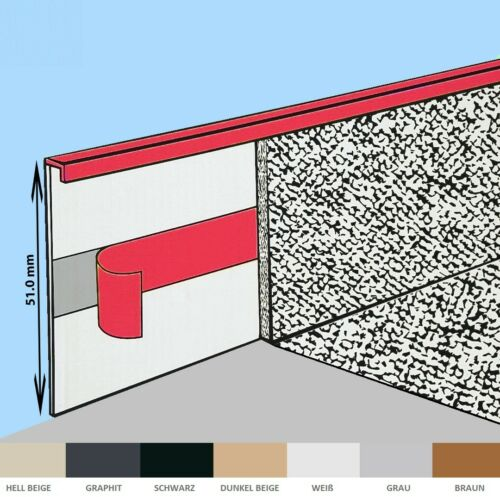 TEPPICHLEISTEN Selbstklebestreifen Leiste Sockelleiste Fussleisten Braun 51mm