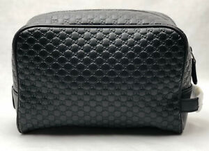 5d6fb88b3c17 Image is loading New-Gucci-419775-Leather-Microguccissima-Zip-Top-Toiletry-